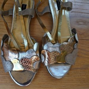 Marc Jacobs metallic hearts slingback sandal